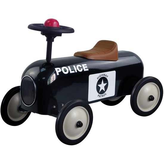 Metal Racer Little Black Police Car